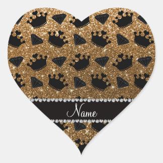 Name gold glitter princess crowns diamonds heart sticker