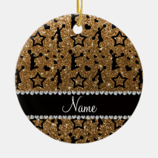 Name gold glitter stars hearts cheerleading ceramic ornament
