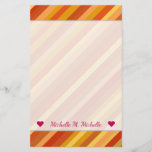 [ Thumbnail: Name + Goldfish-Inspired Colored Stripes Pattern Stationery ]