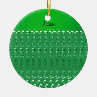 Name green baby bottle rattle pacifier stork ceramic ornament