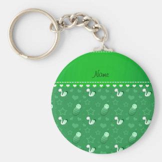 Name green baby stork hearts stars basic round button keychain