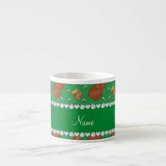 Name green bears honeypots bees pattern espresso mug