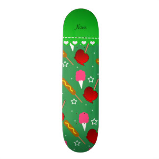 Name green cotton candy apples corn dogs skate board