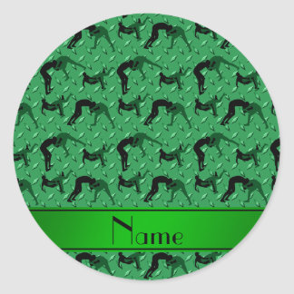 Name green diamond steel plate wrestling classic round sticker