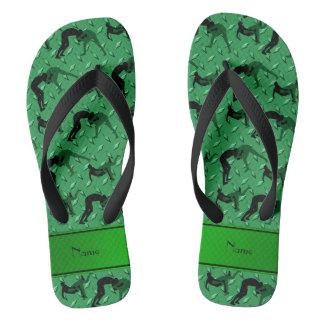 Name green diamond steel plate wrestling flip flops