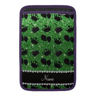 Name green glitter crowns balloons cake MacBook sleeve