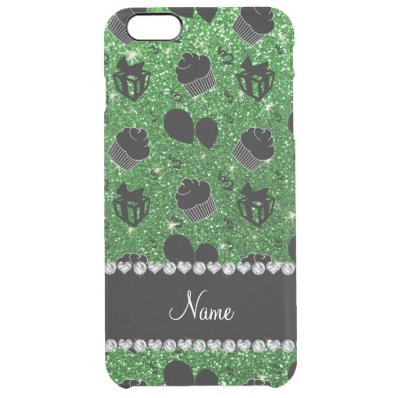 Name green glitter cupcakes balloons presents clear iPhone 6 plus case