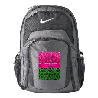 Name green glitter dachshunds pink glitter backpack