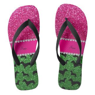 Name green glitter dachshunds pink glitter flip flops