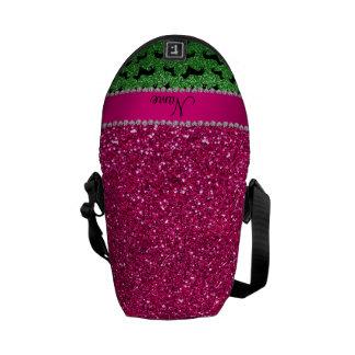 Name green glitter dachshunds pink glitter courier bag