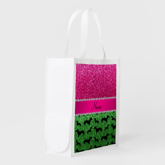 Name green glitter dachshunds pink glitter grocery bag