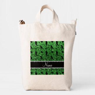 Name green glitter field hockey hearts bow duck canvas bag