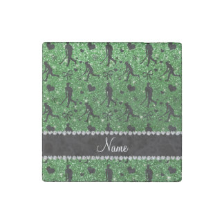 Name green glitter field hockey hearts bow stone magnet