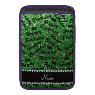 Name green glitter happy birthday balloons sleeve for MacBook air