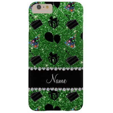 Name green glitter hats cake presents balloons barely there iPhone 6 plus case