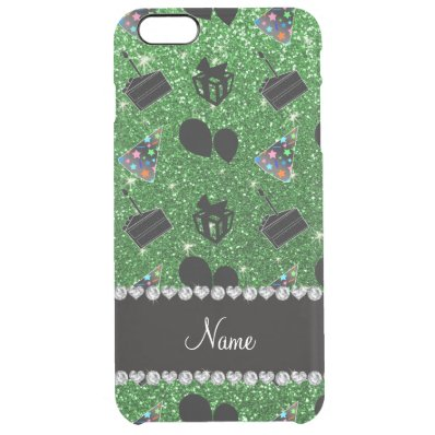 Name green glitter hats cake presents balloons clear iPhone 6 plus case