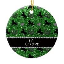 Name green glitter horses hearts horseshoe ceramic ornament