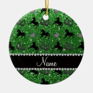 Name green glitter horses hearts horseshoe ceramic ornament