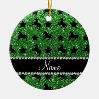 Name green glitter horses stars ceramic ornament