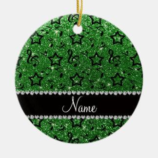 Name green glitter music notes stars ceramic ornament