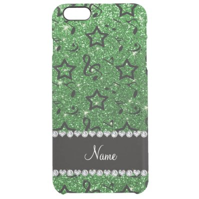Name green glitter music notes stars clear iPhone 6 plus case