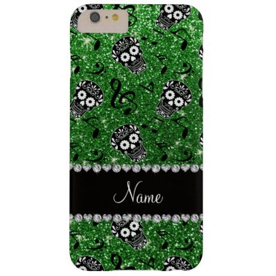 Name Green glitter music notes sugar skulls Barely There iPhone 6 Plus Case