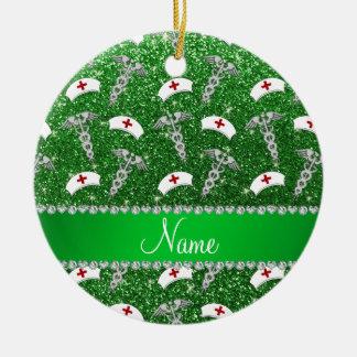 Name green glitter nurse hats silver caduceus ceramic ornament