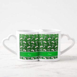 Name green glitter nurse hats silver caduceus couples' coffee mug set