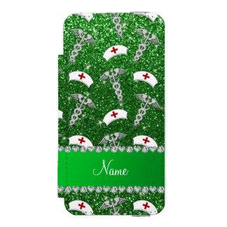 Name green glitter nurse hats silver caduceus wallet case for iPhone SE/5/5s