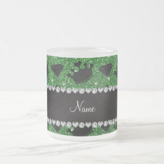 Name green glitter princess crowns diamonds coffee mugs
