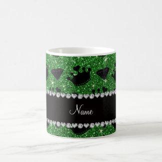 Name green glitter princess crowns diamonds mug