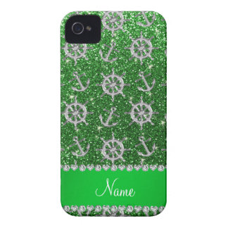 Name green glitter silver anchors ships wheel Case-Mate iPhone 4 cases