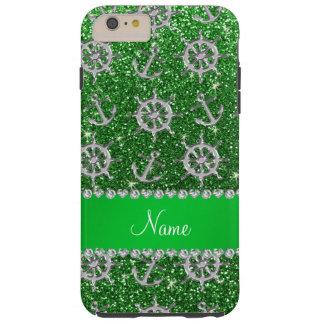 Name green glitter silver anchors ships wheel tough iPhone 6 plus case