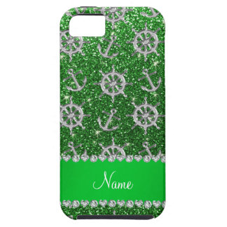 Name green glitter silver anchors ships wheel iPhone 5 covers