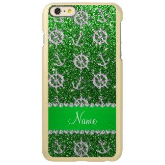 Name green glitter silver anchors ships wheel incipio feather® shine iPhone 6 plus case