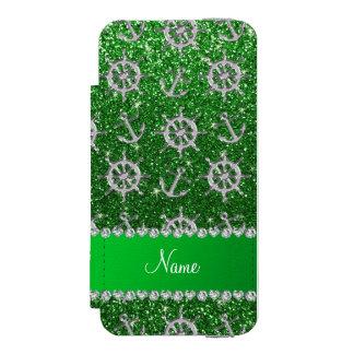 Name green glitter silver anchors ships wheel incipio watson™ iPhone 5 wallet case