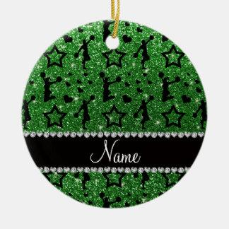 Name green glitter stars cheerleading ceramic ornament