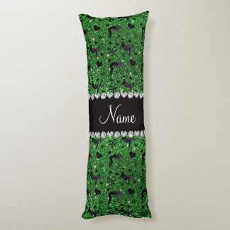 Name green glitter wrestling hearts bows body pillow
