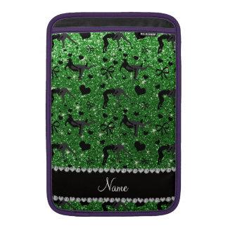 Name green glitter wrestling hearts bows MacBook air sleeve