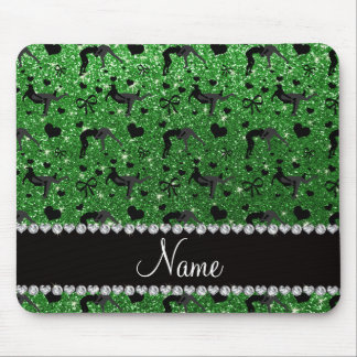 Name green glitter wrestling hearts bows mouse pad