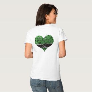 Name green glitter wrestling hearts bows t-shirt
