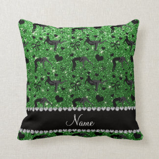 Name green glitter wrestling hearts bows throw pillow