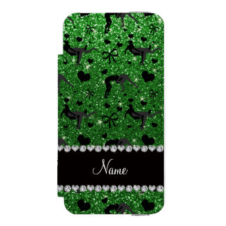 Name green glitter wrestling hearts bows wallet case for iPhone SE/5/5s