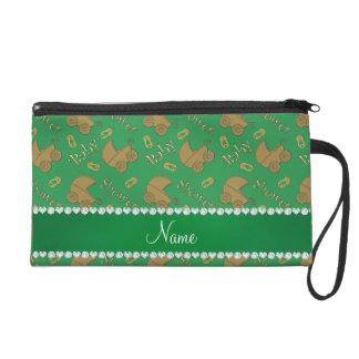 Name green gold baby carriages pins baby shower wristlet purse