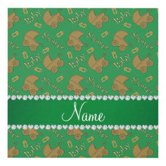 Name green gold baby carriages pins baby shower panel wall art
