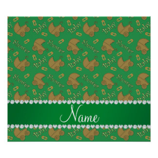 Name green gold baby carriages pins baby shower poster