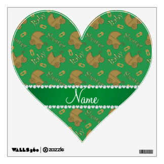 Name green gold baby carriages pins baby shower wall decor