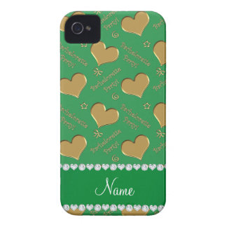 Name green gold hearts bachelorette party iPhone 4 Case-Mate case