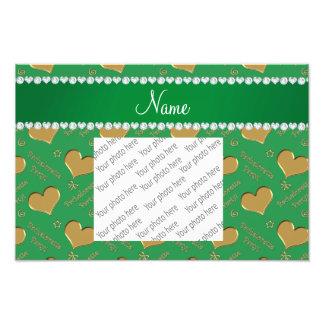 Name green gold hearts bachelorette party photo print