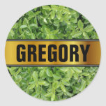 [ Thumbnail: Name + Green Hedge Shrub Type Plant Photograph Round Sticker ]
